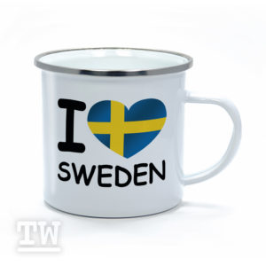 Emaillebecher - I love Sweden